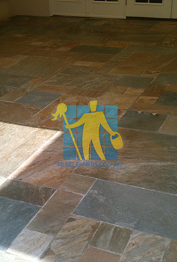 clean slate tiles unsealed after stripping and cleaning Canberra cleaning